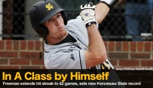 KSU's Freeman Extends Hitting Streak