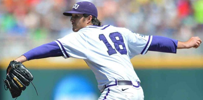 TCU's Preston Morrison (pictured) helped lead TCU to the 2014 College World Series, on a  pitching staff that included a left-hander with a similar name (Brandon Finngean, who a couple months later was pitching in the MLB World Series with the Kansas City Royals).