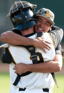 Chris Matheson embraces catcher xx, after the first no-hitter in Long Beach State baseball history.