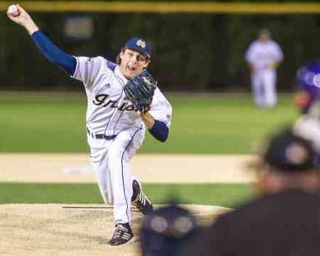Pat Connaughton in action with Notre Dame baseball during the 2014 season (photo courtesy of Matt Cashore/Notre Dame).