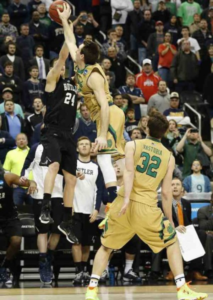Notre Dame's Pat Connaughton block vs. Butler late in 2015 NCAA round-of-32. By Geoff Burke (USA Today).